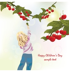 Little child eating cherries vector image