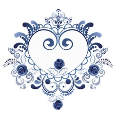 Blue Floral Heart6 vector image