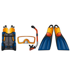 Scuba diving equipments in yellow and blue color vector