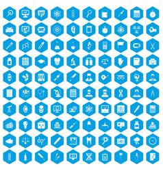 100 lab icons set blue vector