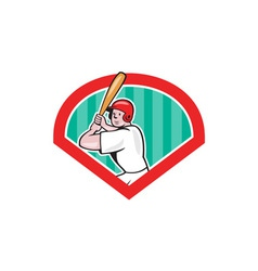 Baseball player batting diamond cartoon vector