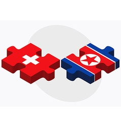Switzerland and korea-north flags vector