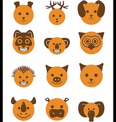 Icon set animals circle vector