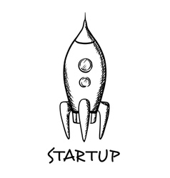Startup concept with a spaceship vector