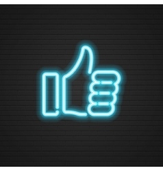 Neon thumbs up icon hand social media vector