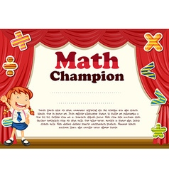 Certification with girl and math theme vector