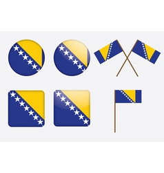 Badges with flag of bosnia and herzegovina vector