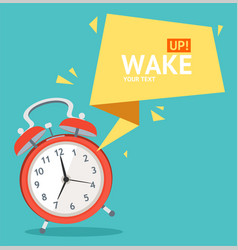 alarm clock with bubble speech card vector image vector image