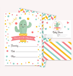 Baby shower card with cute cactus vector