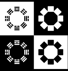Bagua sign black and white icons and line vector