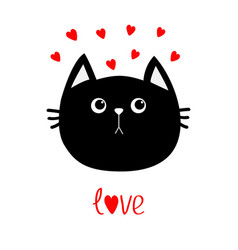 black cat head icon red heart set cute funny vector image