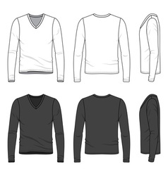 Blank v-neck tee vector image