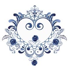 Blue floral heart6 vector