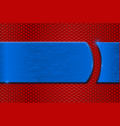 blue metal plate on red perforated background vector image vector image