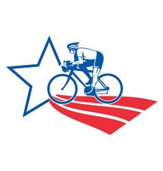 Cyclist riding racing bike retro vector