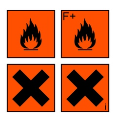 extremely flammable and harmful sign set vector image vector image