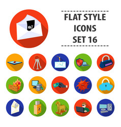 hackers and hacking set icons in flat style big vector image