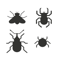 Insects black silhouette icons vector image vector image