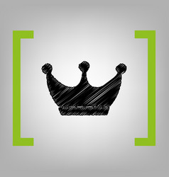 King crown sign black scribble icon in vector