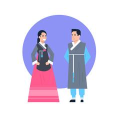 Korea traditional clothes asian couple wearing vector