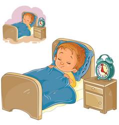 Little baby sleeping in his bed vector