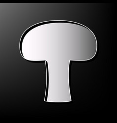 Mushroom simple sign gray 3d printed icon vector