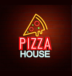 Neon sign of pizza house vector