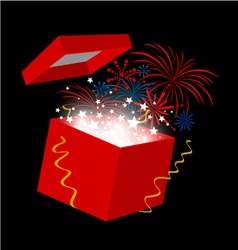 New year gift box on black background vector image vector image