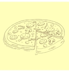 Pizza sketch vector