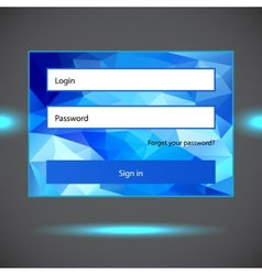 Polygonal blue login form vector image vector image