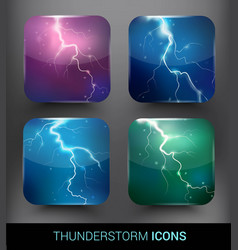 Realistic thunderstorm elements set vector