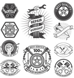 repaire workshop labels set vector image