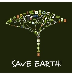 Save Earth ecology environment protection symbol vector image vector image