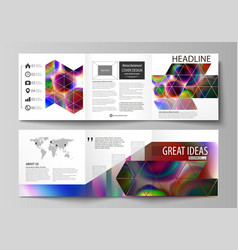 Set of business templates for tri fold brochures vector