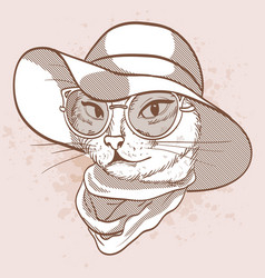Sketch of elegant cat vector