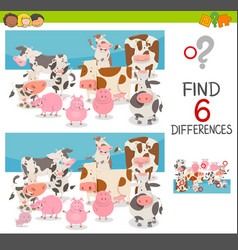 Spot the differences with animals vector