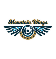 the logo of a bicycle wheel and wings mount vector image