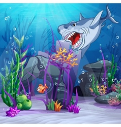 the underwater world and the evil vector image vector image