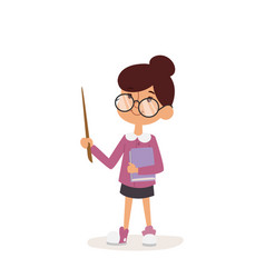Young kindergarden teacher teaching class cartoon vector