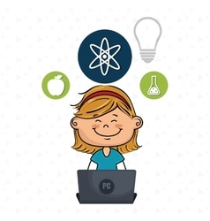 Girl atom laptop idea vector