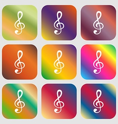 Treble clef icon nine buttons with bright vector