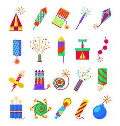 Pyrotechnics burning firework colored icons vector