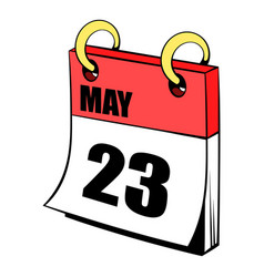 twenty three may in calendar icon cartoon vector image