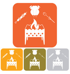 Brazier zephyr kebab and chicken icon vector