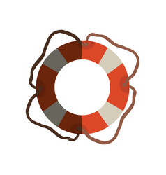 Colorful flotation hoop with cord with half shadow vector