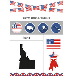 map of idaho set of flat design icons nfographics vector image