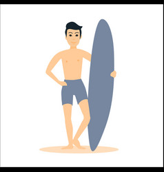 Man surfer stay with surfboard vector