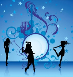 Dancing girls on blue background vector