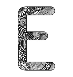Zentangle stylized alphabet lace letter e in vector