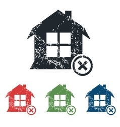 Remove house grunge icon set vector